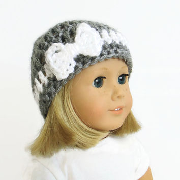 Gray Doll Hat - 18 Inch Doll Hat - AG Doll Clothes