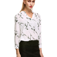 White Floral Print V-Neck Chiffon Long Sleeve Blouse
