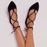 Missguided - Faux Suede Lace Up Pointed Ballerina Flats Black