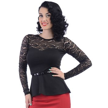 Rock Steady Black Rose Sheer Lace Long Sleeve Peplum Top with belt