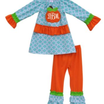 Boutique Outfit, Monogrammed Pumpkin Outfit. Blue Quadrofoil Shirt with Orange Monogram Pumpkin Applique Blue, Orange and Green Ruffle Pants, Fall, Girls Outfit, Toddler Outfit