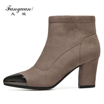 Fanyuan 2017 Winter Snow Boots High Quality Fur Women Chelsea Boots Zip Sexy Pointed toe side zipper Ankle Boots Botas Mujer