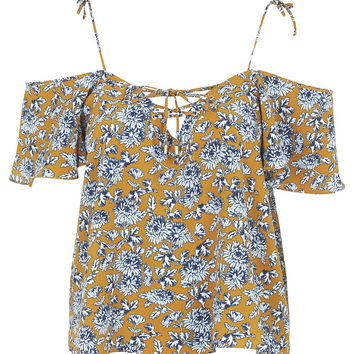 Lattice Floral Bardot Top - Topshop