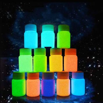 2018 25g 12 color DIY Graffiti Paint Luminous Acrylic Glow in the Dark Pigment Party Walls
