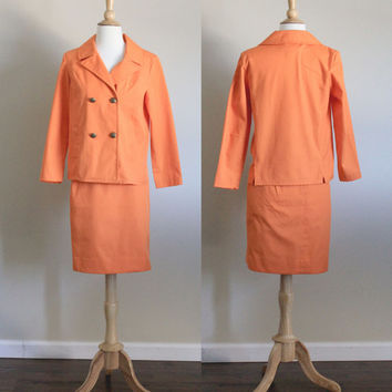 1960s Koratron Orange Suit Dress Jacket and Skirt Set by Murr's of California // Small