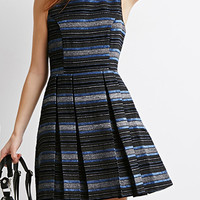 Textured Stripe A-Line Dress