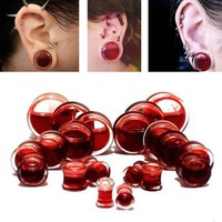 Pair Blood Red Liquid Filled Ear Plugs Flesh Tunnels Gauges Saddle Body Piercing Jewelry Ear Reamer Expander 6-25mm