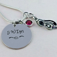 Pewter SWIM Charm with Flyer Symbol Necklace with Sterling Goggles Charm and Swarovski Crystal Channel Drop Birthstone