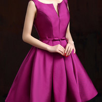Purple Plunge Neck Bowknot Waist Lacing Back Prom Skater Dress