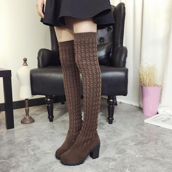 On Sale Hot Deal Thicken Korean With Heel Slim Boots [11192770631]