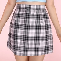 Glitters For Dinner — Made To Order - Black & White Tartan Mini skirt by GFD <3