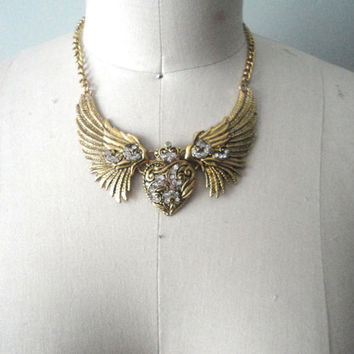 Art Nouveau Inspired Necklace, Angel Wing Necklace, Heart and Wings Necklace, Rhinestone Necklace, 1990s Costume Jewelry, Dramatic Necklace