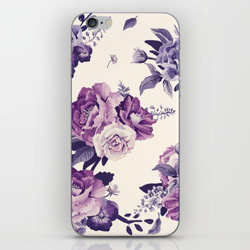 Purple floral boho pattern iPhone Skin by printapix
