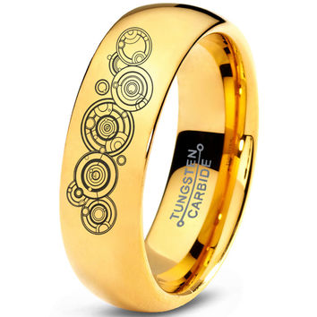 Gallifreyan Doctor Who 18k Yellow Gold Dome Tungsten RIng