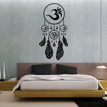 Dream Catcher Dreamcatcher Feathers Hindu Om Symbol Wall Decal Vinyl Sticker Decals Bedroom Home Wall Art Decor Wall Decals V986