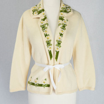 Vintage 1950s Embroidered Sweater with Velvet Ribbon Trim and Daisies
