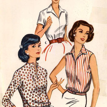 50s summer blouse or top vintage sewing pattern McCalls 4403 mid century 1950s Rockabilly style pattern Bust 32