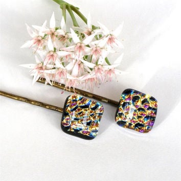 Bobby Pin Pair - Fused Dichroic Glass - Gold Pink Purple - Handmade Hair Accessories