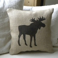 Burlap Moose pillow Cushion Christmas winter or boys room - Etsy Front Page item