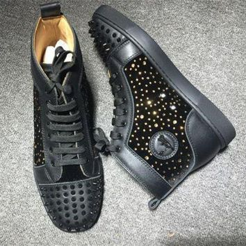 DCCK Cl Christian Louboutin Lou Spikes Style #2198 Sneakers Fashion Shoes