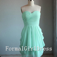 Mint Sweetheart Strapless Short Chiffon Dress Short Bridesmaid Dress Homecoming Dress Prom Dress Evening Dress Party Dress Formal Dress