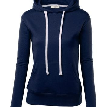 MBJ Womens Active Fleece Long Sleeve Pullover Hoodie L NAVY