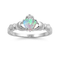 ALL NATURAL GENUINE GEMSTONE- 9MM 2ctw Sterling Silver OCTOBER FIRE WHITE OPAL HEART BIRTHSTONE Royal Claddagh Celtic Irish Ring-SIZE 2-13