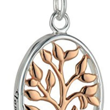 """Sterling Silver and Rose Gold-Flashed Family Tree Two-Tone Pendant Necklace, 18"""""""