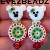 Christmas Polar Bear 925 Sterling Silver Earrings