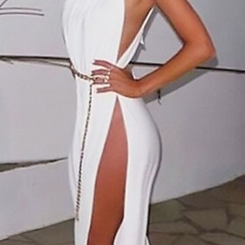 Genie In A Bottle White Spaghetti Strap Scoop Neck Cut Out Halter Belted Slit Leg Jumpsuit