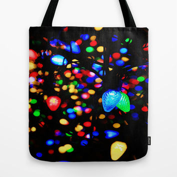 Christmas Lights Tote Bag by 2sweet4words Designs
