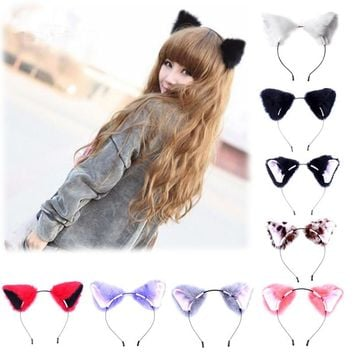 Hot Sale Women Girls Fashion Fox Plush Cat Ears Headbands Headwear Plush Bezel Hair Accessories