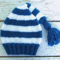 Striped Baby Stocking Cap Hand Knit Infant Hat Size 0 to 6 Months Blue White