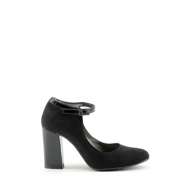Made In Italia Black Leather Ankle Strap Pumps