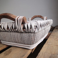 Scandinavian white washed wicker basket with wood handles: rustic, farmhouse, primtive decor