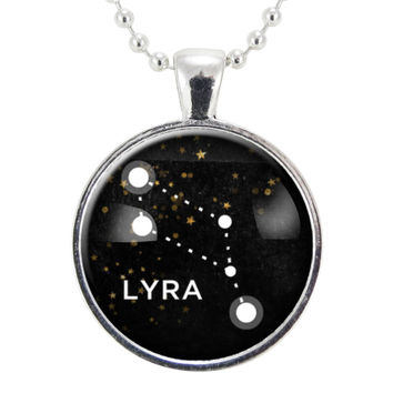 Lyra Star Constellations Necklace, Science Jewelry, Homemade Astrology Pendant Necklace