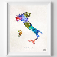 Italy Map, Watercolor, Italian, Rome, Europe, Home Town, Poster, Gift, Nursery, Living Room, Baby, Painting, Bedroom, world map [NO 462]