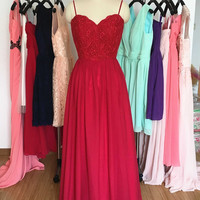 Red Long Lace Bridesmaid Dress/A Line Chiffon Prom Dress/Lace Formal Dresses/Simple Lace Bridesmaid Dress with Spaghetti straps