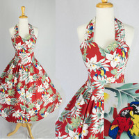 Vintage HAWAIIAN BOMBSHELL Halter Circle Sun Dress Classic Macaw Bird Print