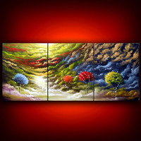 cloud painting tree painting large abstract  landscape by mattsart