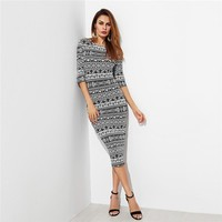 Tribal Print Bodycon Dress Women Half Sleeve Round Neck Elegant Dress Office Ladies Pencil Midi Dress