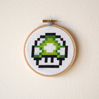 Framed 1up Mushroom Cross Stitch | Super Mario Bros Framed Needlepoint | Finished 4x4 Video Game Cross Stitch | 4 inch Wooden Hoop Art