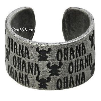 Licensed cool Disney Lilo & Stitch Hawaii OHANA Costume Ring Burnished Silver Tone Size 7 NWT