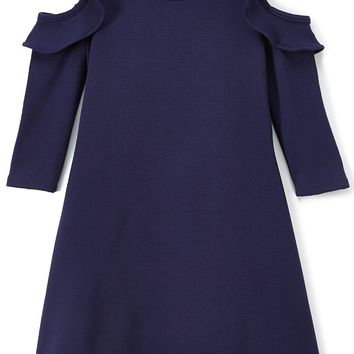 Solid Ruffle Cold Shoulder Navy Blue Casual Dress Girls 4-14