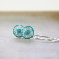 Turquoise daisy earrings, long minimal dangles, sterling silver earhooks