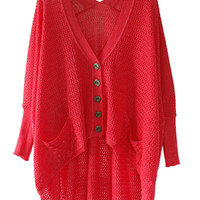 Red Asymmetrical Cardigan