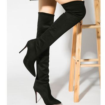 Top Fashion Spring Over Knee Boots Shoes for Women Stretch Fabric Suede Pointed Toe 10