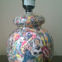X-Men comic book decoupage lamp