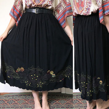 Vintage Boho Skirt, Indian Cotton Skirt, Floral Skirt, Retro Midi Skirt, Print Skirt, Black Skirt, S-M