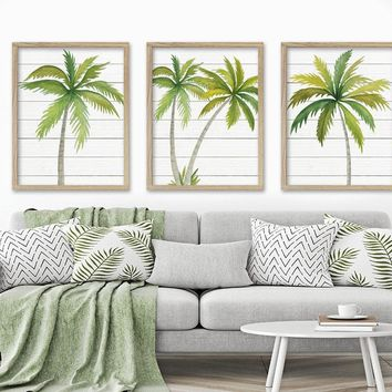 WATERCOLOR PALM TREE Wall Art, Tropical Palm Tree Canvas or Prints Tropical Wood Effect Palm Tree Wall Decor, Coastal Living Room Set of 3